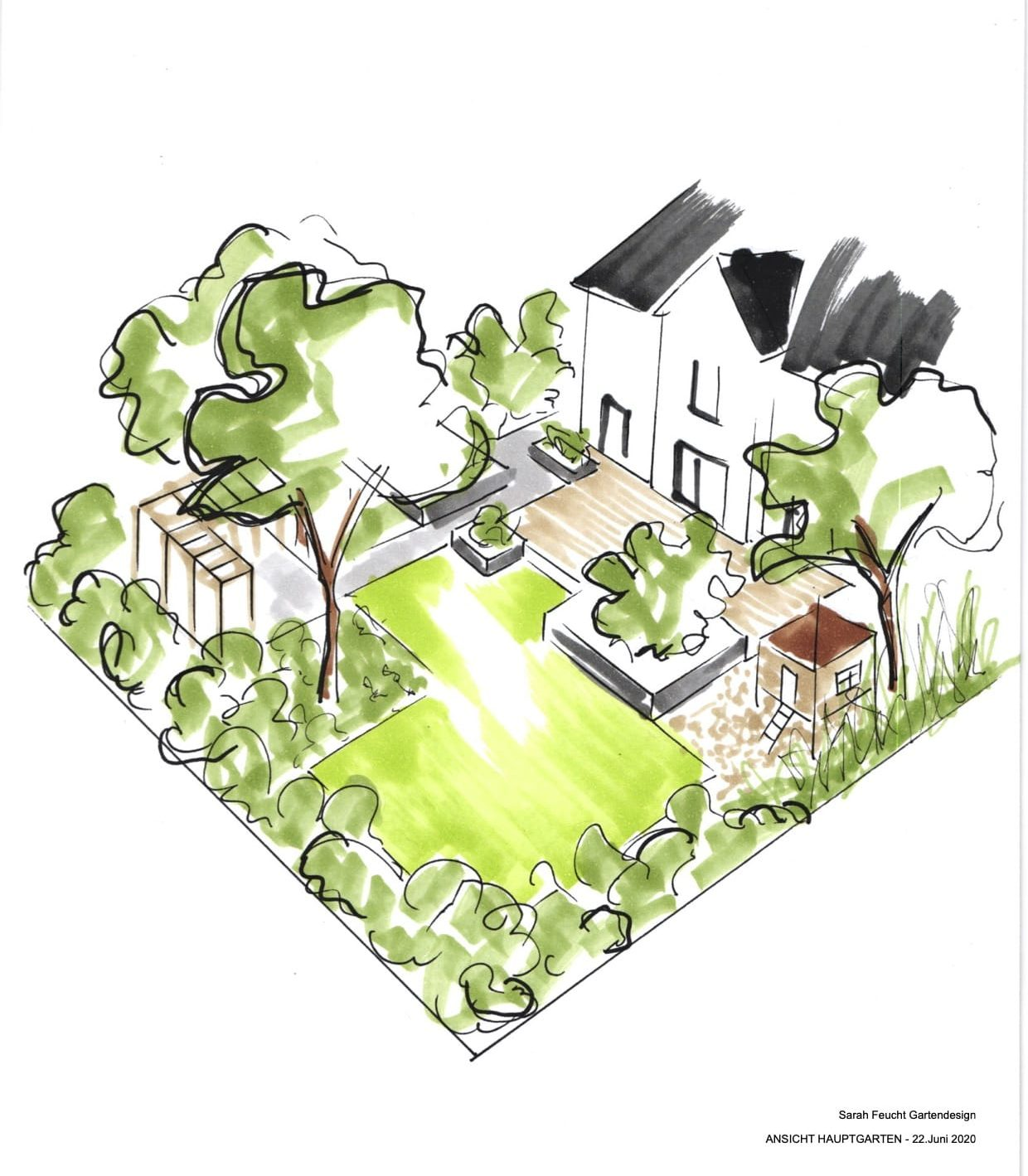 Skizze Gartengestaltung